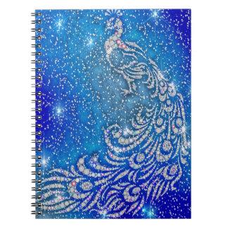 Sparkling Blue & White Peacock Notebooks