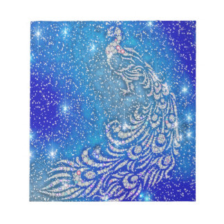 Sparkling Blue & White Peacock Notepad