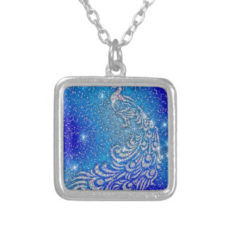 Sparkling Blue & White Peacock Silver Plated Necklace