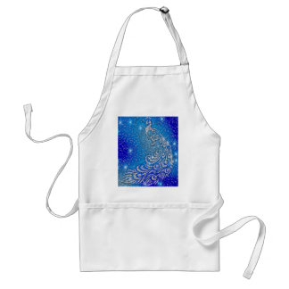 Sparkling Blue & White Peacock Standard Apron
