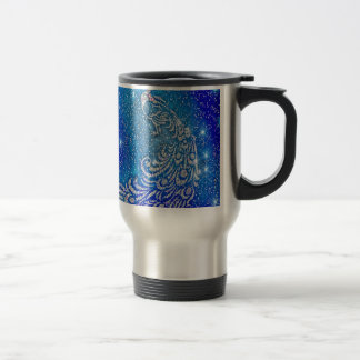 Sparkling Blue & White Peacock Travel Mug
