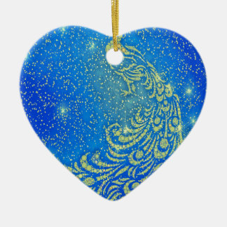 Sparkling Blue & Yellow Peacock Ceramic Ornament