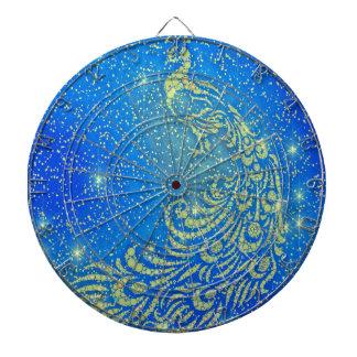 Sparkling Blue & Yellow Peacock Dartboard