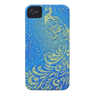 Sparkling Blue & Yellow Peacock iPhone 4 Case-Mate Case
