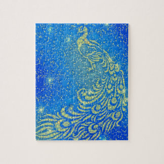 Sparkling Blue & Yellow Peacock Jigsaw Puzzle