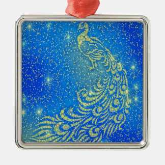 Sparkling Blue & Yellow Peacock Metal Ornament