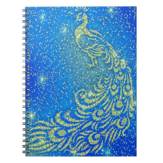 Sparkling Blue & Yellow Peacock Notebook