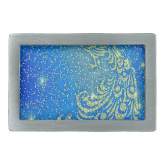 Sparkling Blue & Yellow Peacock Rectangular Belt Buckles