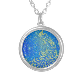 Sparkling Blue & Yellow Peacock Silver Plated Necklace