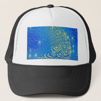 Sparkling Blue & Yellow Peacock Trucker Hat