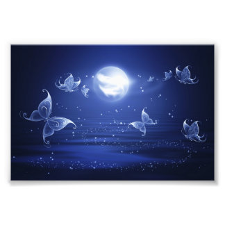 Sparkling Butterflies Luna moths fly by moon light Photographic Print