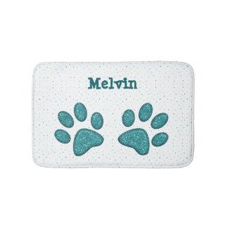 sparkling cat paw print - mint bath mat