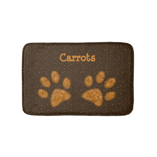 sparkling cat paw print - orange bath mat