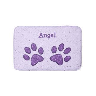 sparkling cat paw print - purple bathroom mat
