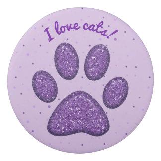 sparkling cat paw print purple - eraser