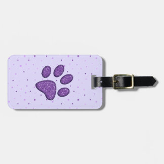 sparkling cat paw print - purple luggage tag