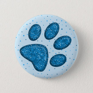 sparkling cat paw print - sky 2 inch round button