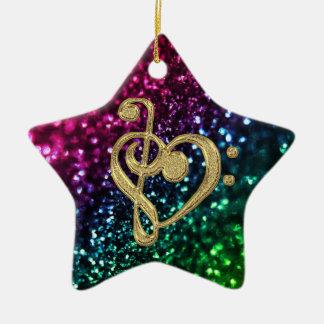 Sparkling Colored Stars with Music Symbols Ceramic Ornament