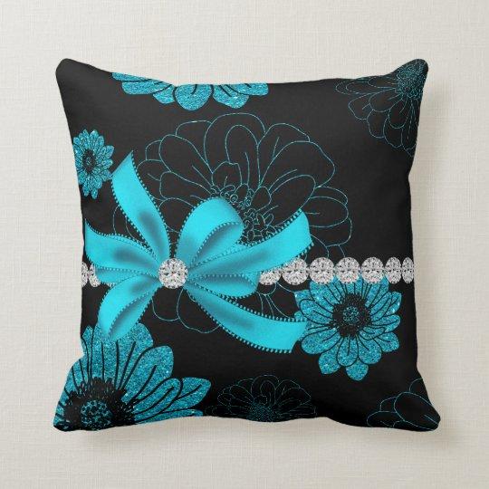 Sparkling Dahlias (Turquoise) Throw Pillow