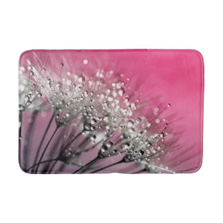 Sparkling Dew Dandelion Hot Pink Background Bath Mat