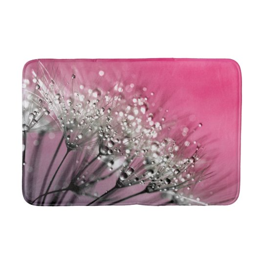 Sparkling Dew Dandelion Hot Pink Background Bath Mat