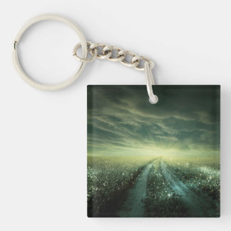 Sparkling Dew filled field during Sunrise Double-Sided Square Acrylic Keychain
