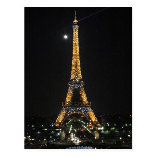 Sparkling Eiffel Tower at Moonlight Postcard