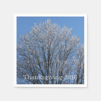 Sparkling Frost Covered Trees Disposable Napkin