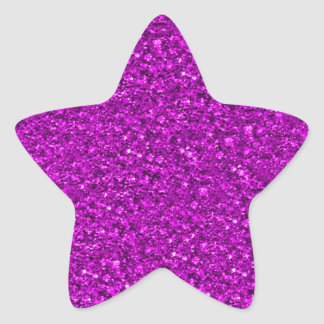 sparkling glitter hot pink star sticker