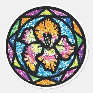 Sparkling Glitter Orange Gladiolus Classic Round Sticker