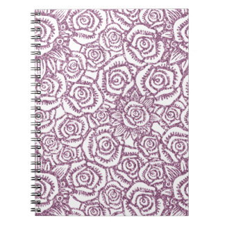 Sparkling Glitter Roses Purple Spiral Notebook