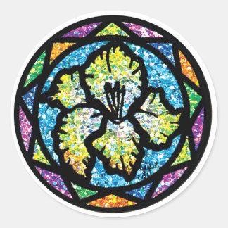 Sparkling Glitter Yellow Gladiolus Round Sticker