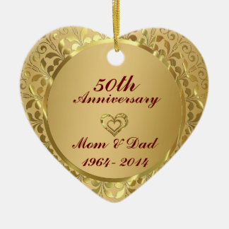 Sparkling Gold  50th Wedding Anniversary Ceramic Heart Ornament