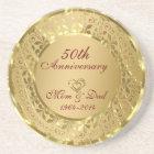 Sparkling Gold 50th Wedding Anniversary Coaster