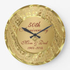 Sparkling Gold 50th Wedding Anniversary Large Clock