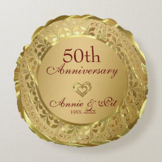 Sparkling Gold 50th Wedding Anniversary Round Pillow