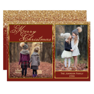 Sparkling Gold Glitter Merry Christmas Photo Card