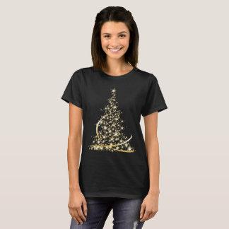 Sparkling gold merry Christmas tree T-Shirt