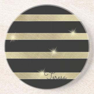Sparkling Gold Stripe ID285 Coaster