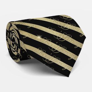 Sparkling Gold Stripe Season's Greetings ID285 Tie