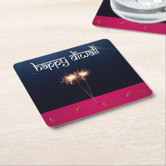 Sparkling Happy Diwali - Paper Coaster
