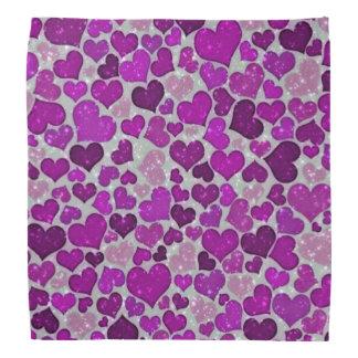 sparkling hearts purple bandanna