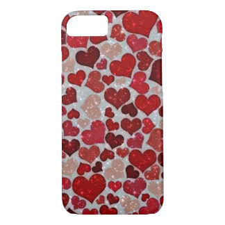sparkling hearts, red iPhone 8/7 case