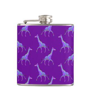 Sparkling Hippie Style Purple Giraffe Flasks
