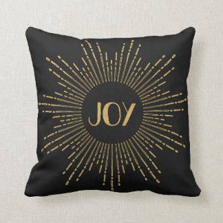 Sparkling Joy Sunburst Throw Pillow / Black Gold