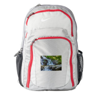 sparkling jump of a waterfall on  Nike backpack,