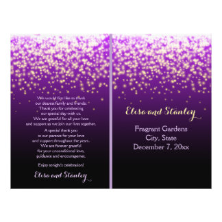 Sparkling lights in the sky purple wedding program