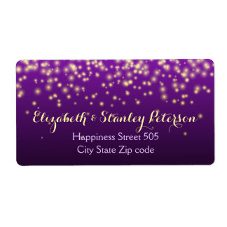 Sparkling lights in the sky purple wedding shipping label