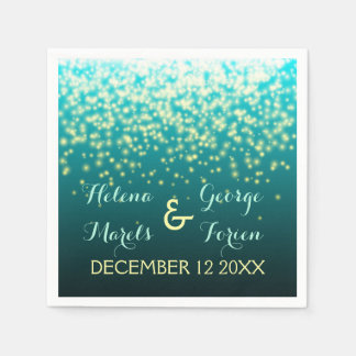 Sparkling lights in the sky teal, aqua wedding disposable napkins