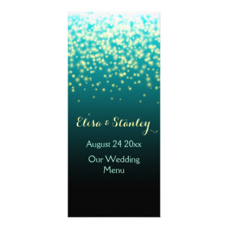Sparkling lights in the sky teal wedding menu custom rack cards